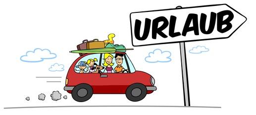 Familie fährt mit Auto in den Urlaub