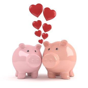 Verliebte Sparschweine